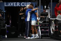 Rafael Nadal of Team Europe celebrates with Bjorn Borg, Captain of Team Europe after winning his singles match against Jack Sock of Team World on Day 2 of the Laver Cup on September 23, 2017 in Prague, Czech Republic. The Laver Cup consists of six European players competing against their counterparts from the rest of the World. Europe will be captained by Bjorn Borg and John McEnroe will captain the Rest of the World team. The event runs from 22-24 September. (Sept. 22, 2017 - Source: Julian Finney/Getty Images Europe)