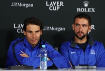 Rafael Nadal and Marin Cilic of Team Europe attend a press conference during previews ahead of the Laver Cup on September 21, 2017 in Prague, Czech Republic. The Laver Cup consists of six European players competing against their counterparts from the rest of the World. Europe will be captained by Bjorn Borg and John McEnroe will captain the Rest of the World team. The event runs from 22-24 September. (Sept. 20, 2017 - Source: Julian Finney/Getty Images Europe)