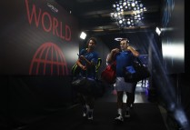 Roger Federer and Rafael Nadal of Team Europe leave after winning there doubles match against Jack Sock and Sam Querrey of Team World on Day 2 of the Laver Cup on September 23, 2017 in Prague, Czech Republic. The Laver Cup consists of six European players competing against their counterparts from the rest of the World. Europe will be captained by Bjorn Borg and John McEnroe will captain the Rest of the World team. The event runs from 22-24 September. (Sept. 22, 2017 - Source: Julian Finney/Getty Images Europe)