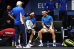 Roger Federer and Rafael Nadal of Team Europe talk tactics during there doubles match against Jack Sock and Sam Querrey of Team World on Day 2 of the Laver Cup on September 23, 2017 in Prague, Czech Republic. The Laver Cup consists of six European players competing against their counterparts from the rest of the World. Europe will be captained by Bjorn Borg and John McEnroe will captain the Rest of the World team. The event runs from 22-24 September. (Sept. 22, 2017 - Source: Julian Finney/Getty Images Europe)