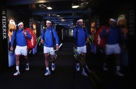 Roger Federer and Rafael Nadal of Team Europe enter the arena for there doubles match against Jack Sock and Sam Querrey of Team World on Day 2 of the Laver Cup on September 23, 2017 in Prague, Czech Republic. The Laver Cup consists of six European players competing against their counterparts from the rest of the World. Europe will be captained by Bjorn Borg and John McEnroe will captain the Rest of the World team. The event runs from 22-24 September. (Sept. 22, 2017 - Source: Julian Finney/Getty Images Europe)