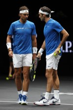 Roger Federer and Rafael Nadal of Team Europe react during there doubles match against Jack Sock and Sam Querrey of Team World on Day 2 of the Laver Cup on September 23, 2017 in Prague, Czech Republic. The Laver Cup consists of six European players competing against their counterparts from the rest of the World. Europe will be captained by Bjorn Borg and John McEnroe will captain the Rest of the World team. The event runs from 22-24 September. (Sept. 22, 2017 - Source: Julian Finney/Getty Images Europe)