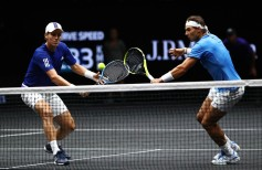 Rafael Nadal and Tomas Berdych of Team Europe in action during there doubles match against Nick Kyrgios ans Jack Sock of Team World on the first day of the Laver Cup on September 22, 2017 in Prague, Czech Republic. The Laver Cup consists of six European players competing against their counterparts from the rest of the World. Europe will be captained by Bjorn Borg and John McEnroe will captain the Rest of the World team. The event runs from 22-24 September. (Sept. 21, 2017 - Source: Clive Brunskill/Getty Images Europe)