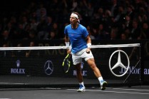 Rafael Nadal playing with Tomas Berdych of Team Europe celebrates winning a point during there doubles match against Nick Kyrgios ans Jack Sock of Team World on the first day of the Laver Cup on September 22, 2017 in Prague, Czech Republic. The Laver Cup consists of six European players competing against their counterparts from the rest of the World. Europe will be captained by Bjorn Borg and John McEnroe will captain the Rest of the World team. The event runs from 22-24 September. (Sept. 21, 2017 - Source: Clive Brunskill/Getty Images Europe)