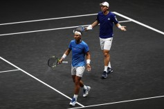Rafael Nadal and Tomas Berdych of Team Europe react during there doubles match against Nick Kyrgios ans Jack Sock of Team World on the first day of the Laver Cup on September 22, 2017 in Prague, Czech Republic. The Laver Cup consists of six European players competing against their counterparts from the rest of the World. Europe will be captained by Bjorn Borg and John McEnroe will captain the Rest of the World team. The event runs from 22-24 September. (Sept. 21, 2017 - Source: Julian Finney/Getty Images Europe)