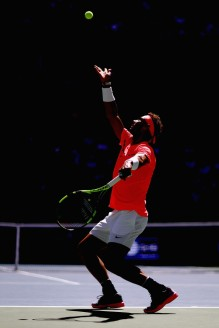 Rafael Nadal of Spain serves against Alexandr Dolgopolov of Ukraine during their fourth round Men's Singles match on Day Eight of the 2017 US Open at the USTA Billie Jean King National Tennis Center on September 4, 2017 in the Flushing neighborhood of the Queens borough of New York City. (Sept. 3, 2017 - Source: Al Bello/Getty Images North America)