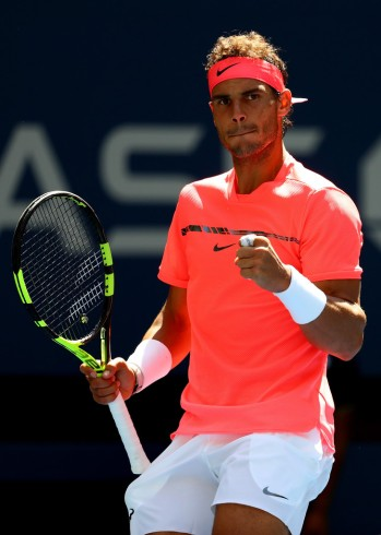 Rafael Nadal of Spain reacts against Alexandr Dolgopolov of Ukraine during their fourth round Men's Singles match on Day Eight of the 2017 US Open at the USTA Billie Jean King National Tennis Center on September 4, 2017 in the Flushing neighborhood of the Queens borough of New York City. (Sept. 3, 2017 - Source: Al Bello/Getty Images North America)
