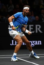 Rafael Nadal of Team Europe celebrates winning a point during his singles match against Jack Sock of Team World on Day 2 of the Laver Cup on September 23, 2017 in Prague, Czech Republic. The Laver Cup consists of six European players competing against their counterparts from the rest of the World. Europe will be captained by Bjorn Borg and John McEnroe will captain the Rest of the World team. The event runs from 22-24 September. (Sept. 22, 2017 - Source: Clive Brunskill/Getty Images Europe)