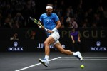 Rafael Nadal of Team Europe plays a backhand during his singles match against Jack Sock of Team World on Day 2 of the Laver Cup on September 23, 2017 in Prague, Czech Republic. The Laver Cup consists of six European players competing against their counterparts from the rest of the World. Europe will be captained by Bjorn Borg and John McEnroe will captain the Rest of the World team. The event runs from 22-24 September. (Sept. 22, 2017 - Source: Clive Brunskill/Getty Images Europe)
