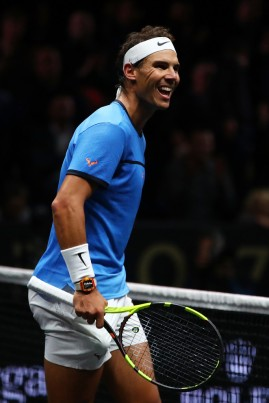 Rafael Nadal of Team Europe celebrates winning match point during his singles match against Jack Sock of Team World on Day 2 of the Laver Cup on September 23, 2017 in Prague, Czech Republic. The Laver Cup consists of six European players competing against their counterparts from the rest of the World. Europe will be captained by Bjorn Borg and John McEnroe will captain the Rest of the World team. The event runs from 22-24 September. (Sept. 22, 2017 - Source: Clive Brunskill/Getty Images Europe)