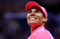 Rafael Nadal of Spain celebrates after defeating Juan Martin del Potro of Argentina in their Men's Singles Semifinal match on Day Twelve of the 2017 US Open at the USTA Billie Jean King National Tennis Center on September 8, 2017 in the Flushing neighborhood of the Queens borough of New York City. Rafael Nadal defeated Juan Martin del Potro in the fourth set with a score of 4-6, 6-0, 6-3, 6-2. (Sept. 7, 2017 - Source: Elsa/Getty Images North America)