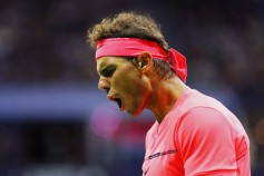 Rafael Nadal of Spain reacts against Leonardo Mayer of Argentina during their third round Men's Singles match on Day Six of the 2017 US Open at the USTA Billie Jean King National Tennis Center on September 2, 2017 in the Flushing neighborhood of the Queens borough of New York City. (Sept. 1, 2017 - Source: Richard Heathcote/Getty Images North America)
