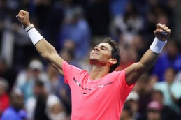 Rafael Nadal of Spain reacts after his third round match win over Leonardo Mayer of Argentina during their third round Men's Singles match on Day Six of the 2017 US Open at the USTA Billie Jean King National Tennis Center on September 2, 2017 in the Flushing neighborhood of the Queens borough of New York City. (Sept. 1, 2017 - Source: Matthew Stockman/Getty Images North America)