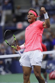 Rafael Nadal of Spain reacts against Leonardo Mayer of Argentina during their third round Men's Singles match on Day Six of the 2017 US Open at the USTA Billie Jean King National Tennis Center on September 2, 2017 in the Flushing neighborhood of the Queens borough of New York City. (Sept. 1, 2017 - Source: Matthew Stockman/Getty Images North America)
