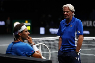 Bjorn Borg, Captain of Team Europe and Rafael Nadal of Team Europe plays look dejected during his mens singles match against John Isner of Team World on the final day of the Laver cup on September 24, 2017 in Prague, Czech Republic. The Laver Cup consists of six European players competing against their counterparts from the rest of the World. Europe will be captained by Bjorn Borg and John McEnroe will captain the Rest of the World team. The event runs from 22-24 September. (Sept. 23, 2017 - Source: Clive Brunskill/Getty Images Europe)