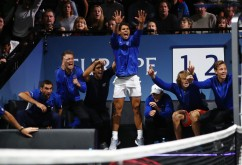 Rafael Nadal of Team Europe celebrates with Team Europe team mates during the mens singles match between Roger Federer and Nick Kyrgios of Team World on the final day of the Laver cup on September 24, 2017 in Prague, Czech Republic. The Laver Cup consists of six European players competing against their counterparts from the rest of the World. Europe will be captained by Bjorn Borg and John McEnroe will captain the Rest of the World team. The event runs from 22-24 September. (Sept. 23, 2017 - Source: Clive Brunskill/Getty Images Europe)