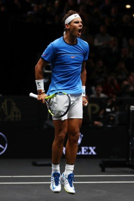 Rafael Nadal of Team Europe celebrates after winning his singles match against Jack Sock of Team World on Day 2 of the Laver Cup on September 23, 2017 in Prague, Czech Republic. The Laver Cup consists of six European players competing against their counterparts from the rest of the World. Europe will be captained by Bjorn Borg and John McEnroe will captain the Rest of the World team. The event runs from 22-24 September. (Sept. 22, 2017 - Source: Julian Finney/Getty Images Europe)