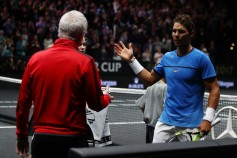 Rafael Nadal of Team Europe celebrates at the net after winning his singles match against Jack Sock of Team World on Day 2 of the Laver Cup on September 23, 2017 in Prague, Czech Republic. The Laver Cup consists of six European players competing against their counterparts from the rest of the World. Europe will be captained by Bjorn Borg and John McEnroe will captain the Rest of the World team. The event runs from 22-24 September. (Sept. 22, 2017 - Source: Clive Brunskill/Getty Images Europe)