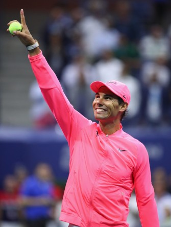 Rafael Nadal of Spain celebrates defeating Andrey Rublev of Russia after their Men's Singles Quarterfinal match on Day Ten of the 2017 US Open at the USTA Billie Jean King National Tennis Center on September 6, 2017 in the Flushing neighborhood of the Queens borough of New York City. (Sept. 5, 2017 - Source: Clive Brunskill/Getty Images North America)