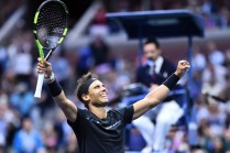 Spain's Rafael Nadal celebrates after defeating South Africa's Kevin Anderson during their 2017 US Open Men's Singles final match at the USTA Billie Jean King National Tennis Center in New York on September 10, 2017. .World number one Rafael Nadal won his 16th Grand Slam title and third US Open crown on Sunday by defeating South African 28th seed Kevin Anderson 6-3, 6-3, 6-4. / AFP PHOTO / Jewel SAMAD