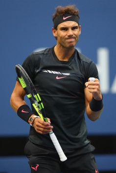 Rafael Nadal of Spain reacts against Kevin Anderson of South Africa during their Men's Singles finals match on Day Fourteen of the 2017 US Open at the USTA Billie Jean King National Tennis Center on September 10, 2017 in the Flushing neighborhood of the Queens borough of New York City. (Sept. 9, 2017 - Source: Clive Brunskill/Getty Images North America)