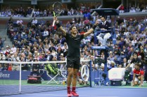Rafael Nadal of Spain celebrates defeating Kevin Anderson of South Africa during their Men's Singles finals match on Day Fourteen of the 2017 US Open at the USTA Billie Jean King National Tennis Center on September 10, 2017 in the Flushing neighborhood of the Queens borough of New York City. Rafael Nadal defeated Kevin Anderson in the third set with a score of 6-3, 6-3, 6-4. (Sept. 9, 2017 - Source: Clive Brunskill/Getty Images North America)