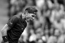Image has been converted to black and white.) Rafael Nadal of Spain reacts against Taro Daniel of Japan in their second round Men's Singles match on Day Four of the 2017 US Open at the USTA Billie Jean King National Tennis Center on August 31, 2017 in the Flushing neighborhood of the Queens borough of New York City. (Aug. 30, 2017 - Source: Richard Heathcote/Getty Images North America)
