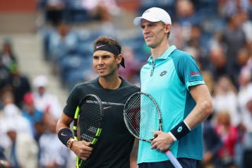 Rafael Nadal of Spain and Kevin Anderson of South Africa pose before their Men's Singles finals match on Day Fourteen of the 2017 US Open at the USTA Billie Jean King National Tennis Center on September 10, 2017 in the Flushing neighborhood of the Queens borough of New York City. (Sept. 9, 2017 - Source: Clive Brunskill/Getty Images North America)