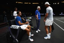 Roger Federer of Switzerland and Rafael Nadal of Spain speaks during a training session ahead of the Laver Cup on September 20, 2017 in Prague, Czech Republic. The Laver Cup consists of six European players competing against their counterparts from the rest of the World. Europe will be captained by Bjorn Borg and John McEnroe will captain the Rest of the World team. The event runs from 22-24 September. (Sept. 19, 2017 - Source: Clive Brunskill/Getty Images Europe)