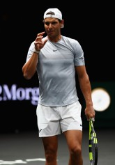 Rafael Nadal of Spain gestures during a training session ahead of the Laver Cup on September 20, 2017 in Prague, Czech Republic. The Laver Cup consists of six European players competing against their counterparts from the rest of the World. Europe will be captained by Bjorn Borg and John McEnroe will captain the Rest of the World team. The event runs from 22-24 September. (Sept. 19, 2017 - Source: Clive Brunskill/Getty Images Europe)