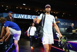 Rafael Nadal of Spain gestures when entering the arena ahead of the Laver Cup on September 20, 2017 in Prague, Czech Republic. The Laver Cup consists of six European players competing against their counterparts from the rest of the World. Europe will be captained by Bjorn Borg and John McEnroe will captain the Rest of the World team. The event runs from 22-24 September. (Sept. 19, 2017 - Source: Clive Brunskill/Getty Images Europe)