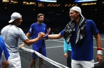 Rafael Nadal of Spain and Tomas Berdych of Czech Republic share a joke during a training session ahead of the Laver Cup on September 20, 2017 in Prague, Czech Republic. The Laver Cup consists of six European players competing against their counterparts from the rest of the World. Europe will be captained by Bjorn Borg and John McEnroe will captain the Rest of the World team. The event runs from 22-24 September. (Sept. 19, 2017 - Source: Clive Brunskill/Getty Images Europe)