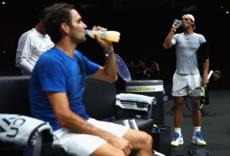 Roger Federer of Switzerland and Rafael Nadal of Spain cools down during a training session ahead of the Laver Cup on September 20, 2017 in Prague, Czech Republic. The Laver Cup consists of six European players competing against their counterparts from the rest of the World. Europe will be captained by Bjorn Borg and John McEnroe will captain the Rest of the World team. The event runs from 22-24 September. (Sept. 19, 2017 - Source: Clive Brunskill/Getty Images Europe)