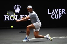 Rafael Nadal of Spain in action during a training session ahead of the Laver Cup on September 20, 2017 in Prague, Czech Republic. The Laver Cup consists of six European players competing against their counterparts from the rest of the World. Europe will be captained by Bjorn Borg and John McEnroe will captain the Rest of the World team. The event runs from 22-24 September. (Sept. 19, 2017 - Source: Clive Brunskill/Getty Images Europe)