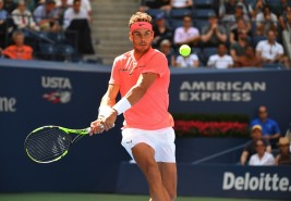 Rafael Nadal of Spain returns the ball to Alexandr Dolgopolov of the Ukraine during their Round 4, US Open 2017, Women's Singles match at the USTA Billie Jean King National Tennis Center on September 4, 2017, in New York. / AFP PHOTO / TIMOTHY A. CLARY