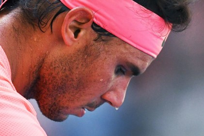 Rafael Nadal of Spain plays against Alexandr Dolgopolov of Ukraine during their Round 4, US Open 2017, Men's Singles match at the USTA Billie Jean King National Tennis Center on September 4, 2017, in New York. / AFP PHOTO / Jewel SAMAD