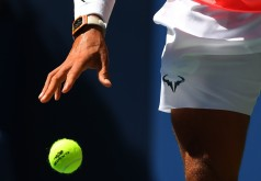 Rafael Nadal of Spain prepares to serve to Alexandr Dolgopolov of the Ukraine during their Round 4, US Open 2017, Men's Singles match at the USTA Billie Jean King National Tennis Center on September 4, 2017, in New York. / AFP PHOTO / TIMOTHY A. CLARY