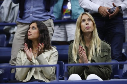 Xisca Perello and Maria Isabel Nadal celebrate Rafael Nadal of Spain defeating Andrey Rublev of Russia after their Men's Singles Quarterfinal match on Day Ten of the 2017 US Open at the USTA Billie Jean King National Tennis Center on September 6, 2017 in the Flushing neighborhood of the Queens borough of New York City. (Sept. 5, 2017 - Source: Clive Brunskill/Getty Images North America)
