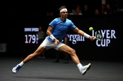 Rafael Nadal of Team Europe plays a forehand during his singles match against Jack Sock of Team World on Day 2 of the Laver Cup on September 23, 2017 in Prague, Czech Republic. The Laver Cup consists of six European players competing against their counterparts from the rest of the World. Europe will be captained by Bjorn Borg and John McEnroe will captain the Rest of the World team. The event runs from 22-24 September. (Sept. 22, 2017 - Source: Clive Brunskill/Getty Images Europe)