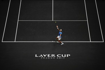 Rafael Nadal of Team Europe serves during his mens singles match against John Isner of Team World on the final day of the Laver cup on September 24, 2017 in Prague, Czech Republic. The Laver Cup consists of six European players competing against their counterparts from the rest of the World. Europe will be captained by Bjorn Borg and John McEnroe will captain the Rest of the World team. The event runs from 22-24 September. (Sept. 23, 2017 - Source: Julian Finney/Getty Images Europe)