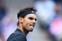 Spain's Rafael Nadal reacts after winning a set against South Africa's Kevin Anderson during their 2017 US Open Men's Singles final match at the USTA Billie Jean King National Tennis Center in New York on September 10, 2017. / AFP PHOTO / Jewel SAMAD
