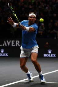 Rafael Nadal of Team Europe plays a backhand during his mens singles match against John Isner of Team World on the final day of the Laver cup on September 24, 2017 in Prague, Czech Republic. The Laver Cup consists of six European players competing against their counterparts from the rest of the World. Europe will be captained by Bjorn Borg and John McEnroe will captain the Rest of the World team. The event runs from 22-24 September. (Sept. 23, 2017 - Source: Clive Brunskill/Getty Images Europe)