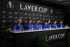 Bjorn Borg, Captain of Team Europe, Rafael Nadal, Marin Cilic, Dominic Thiem, Tomas Berdych, Roger Federer and Alexander Zverev of Team Europe attend a press conference during previews ahead of the Laver Cup on September 21, 2017 in Prague, Czech Republic. The Laver Cup consists of six European players competing against their counterparts from the rest of the World. Europe will be captained by Bjorn Borg and John McEnroe will captain the Rest of the World team. The event runs from 22-24 September. (Sept. 20, 2017 - Source: Julian Finney/Getty Images Europe)