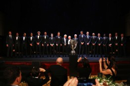 Team Europe and Team World line up on stage with John Mcenroe, Bjorn Borg and Rod Laver at the Laver Cup Gala dinner ahead of the Laver Cup on September 21, 2017 in Prague, Czech Republic. The Laver Cup consists of six European players competing against their counterparts from the rest of the World. Europe will be captained by Bjorn Borg and John McEnroe will captain the Rest of the World team. The event runs from 22-24 September. (Sept. 20, 2017 - Source: Clive Brunskill/Getty Images Europe)