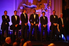 (L-R) Rafael Nadal, Roger Federer, Alexander Zverev, Marin Cilic, Dominic Thiem, Tomas Berdych and Bjorn Borg, Captain of Team Europe line up on stage during the Laver Cup gala dinner ahead of the Laver Cup on September 21, 2017 in Prague, Czech Republic. The Laver Cup consists of six European players competing against their counterparts from the rest of the World. Europe will be captained by Bjorn Borg and John McEnroe will captain the Rest of the World team. The event runs from 22-24 September. (Sept. 20, 2017 - Source: Clive Brunskill/Getty Images Europe)