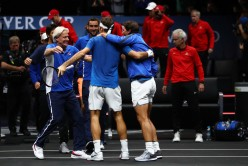 Roger Federer of Team Europe celebrates with Rafael Nadal and Bjorn Borg of Team Europe after winning the Laver Cup on match point during his mens singles match against Nick Kyrgios of Team World on the final day of the Laver cup on September 24, 2017 in Prague, Czech Republic. The Laver Cup consists of six European players competing against their counterparts from the rest of the World. Europe will be captained by Bjorn Borg and John McEnroe will captain the Rest of the World team. The event runs from 22-24 September. (Sept. 23, 2017 - Source: Clive Brunskill/Getty Images Europe)
