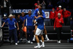 Roger Federer of Team Europe celebrates with Rafael Nadal of Team Europe after winning the Laver Cup on match point during his mens singles match against Nick Kyrgios of Team World on the final day of the Laver cup on September 24, 2017 in Prague, Czech Republic. The Laver Cup consists of six European players competing against their counterparts from the rest of the World. Europe will be captained by Bjorn Borg and John McEnroe will captain the Rest of the World team. The event runs from 22-24 September. (Sept. 23, 2017 - Source: Clive Brunskill/Getty Images Europe)