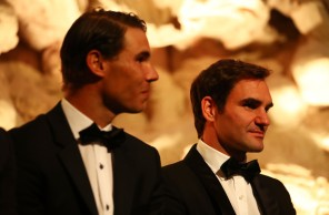 Rafael Nadal and Roger Federer of Team Europe on stage at the Laver Cup Gala dinner ahead of the Laver Cup on September 21, 2017 in Prague, Czech Republic. The Laver Cup consists of six European players competing against their counterparts from the rest of the World. Europe will be captained by Bjorn Borg and John McEnroe will captain the Rest of the World team. The event runs from 22-24 September. (Sept. 20, 2017 - Source: Clive Brunskill/Getty Images Europe)