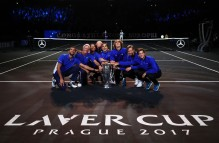 (L-R) Marin Cilic, Bjorn Borg,Rafael Nadal, Alexander Zverev, Dominic Thiem, Roger Federer and Tomas Berdych of Team Europe lift the Laver Cup trophy on the final day of the Laver cup on September 24, 2017 in Prague, Czech Republic. The Laver Cup consists of six European players competing against their counterparts from the rest of the World. Europe will be captained by Bjorn Borg and John McEnroe will captain the Rest of the World team. The event runs from 22-24 September. (Sept. 23, 2017 - Source: Clive Brunskill/Getty Images Europe)