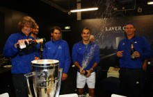 Alexander Zverev, Rafael Nadal, Roger Federer and Marin Cilic of Team Europe spray champagne after winning the Laver Cup on the final day of the Laver cup on September 24, 2017 in Prague, Czech Republic. The Laver Cup consists of six European players competing against their counterparts from the rest of the World. Europe will be captained by Bjorn Borg and John McEnroe will captain the Rest of the World team. The event runs from 22-24 September. (Sept. 23, 2017 - Source: Clive Brunskill/Getty Images Europe)